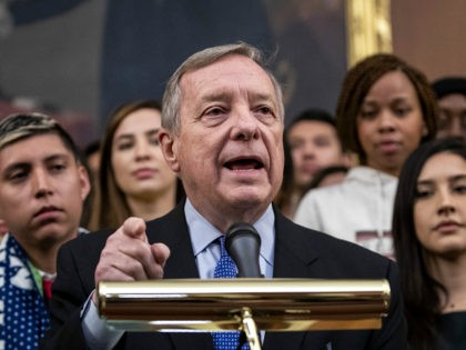WASHINGTON, DC - NOVEMBER 12: Sen. Dick Durbin (D-IL) speaks at a press conference with DACA recipients to discuss the Supreme Court case involving Deferred Action for Childhood Arrivals (DACA) at the U.S. Capitol on November 12, 2019 in Washington, DC. On Tuesday morning, the Supreme Court heard oral arguments …
