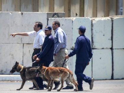 Egyptian bomb disposal expert use sniffer dogs as the check the area following a bomb blast in the vicinity of the Ittihadiya palace in the Egyptian capital Cairo, on June 30, 2014. Two Egyptian police officers were killed defusing bombs near the presidential palace in Cairo almost a year to …