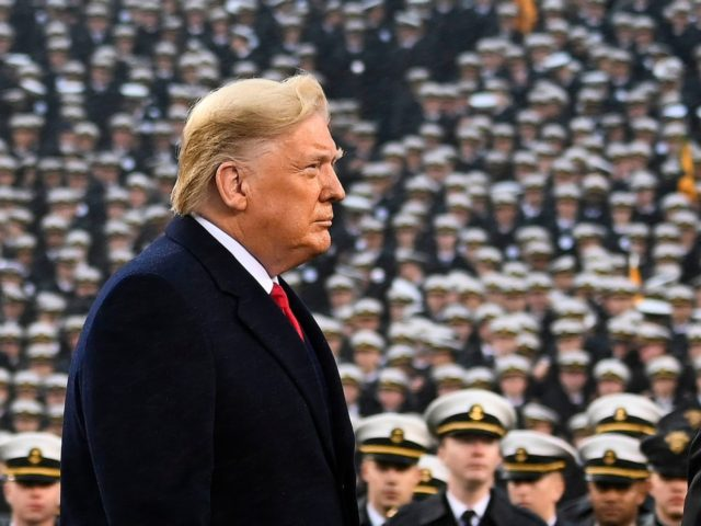 TOPSHOT - US President Donald Trump attends the Army-Navy football game in Philadelphia, Pennsylvania on December 14, 2019. (Photo by Andrew CABALLERO-REYNOLDS / AFP) (Photo by ANDREW CABALLERO-REYNOLDS/AFP via Getty Images)