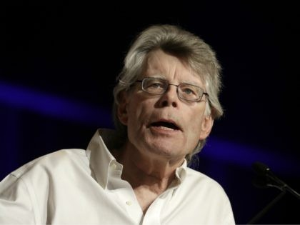 """In this June 1, 2017, photo, author Stephen King speaks at Book Expo America in New York. King discussed in an interview with The Associated Press how he views Hollywood adaptations of his writings, including the upcoming film """"It,"""" and how even as the leading creator of horror fiction, he …"""