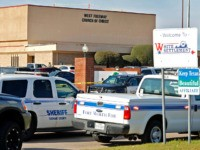 WHITE SETTLEMENT, TX - DECEMBER 29: Law enforcement vehicles are parked outside West Freeway Church of Christ where a shooting took place at the morning service on December 29, 2019 in White Settlement, Texas. The gunman was killed by armed members of the church after he opened fire during Sunday …
