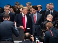 HERTFORD, ENGLAND - DECEMBER 04: UK Prime Minister Boris Johnson (R) U.S. President Donald Trump (L) and Canadian Prime Minister Justin Trudeau (C) attend the NATO summit at the Grove Hotel on December 4, 2019 in Watford, England. France and the UK signed the Treaty of Dunkirk in 1947 in …