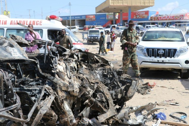 The devastating car bomb blast ripped through a busy area of the Somali capital