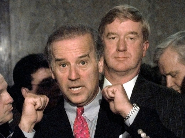 Sen. Joseph Biden, D-Del., left, gestures toward William Weld, President Clinton's choice to become ambassador to Mexico, during a Capitol Hill news conference Friday Sept. 12, 1997 after Senate Foreign Relations Committee Chairman Sen. Jesse Helms, R-N.C. refused to give the stalled nomination of Weld a hearing. Sen. Richard Lugar, …