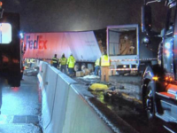 Emergency crews respond to a fatal crash on the Pennsylvania Turnpike in Mount Pleasant Township on Jan. 5, 2020.WPIX / via AP