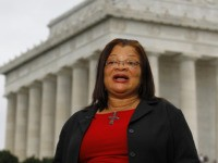 Alveda King, the niece of Martin Luther King, Jr., speaks during a television interview before the Glenn Beck 'Restoring Honor' rally in front of the Lincoln Memorial in Washington Saturday, Aug. 28, 2010.(AP Photo/Alex Brandon)