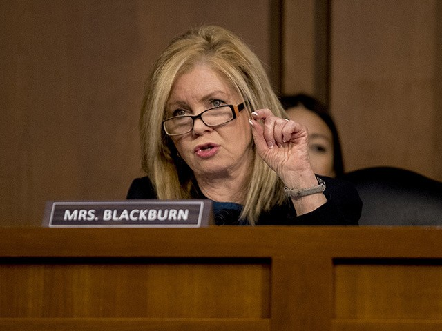 Sen. Marsha Blackburn, R-Tenn., questions Attorney General nominee William Barr as he testifies before a Senate Judiciary Committee hearing on Capitol Hill in Washington, Tuesday, Jan. 15, 2019. As he did almost 30 years ago, Barr is appearing before the Senate Judiciary Committee to make the case he's qualified to …