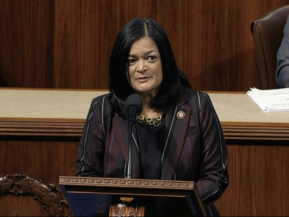 Rep. Pramila Jayapal, D-Wash., speaks as the House of Representatives debates the articles of impeachment against President Donald Trump at the Capitol in Washington, Wednesday, Dec. 18, 2019. (House Television via AP)