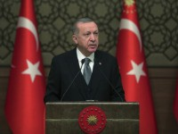 Turkey's President Recep Tayyip Erdogan deliver a speech at an event in Ankara, Turkey, Thursday, Jan. 2, 2020. Turkey's parliament on Thursday authorised the deployment of troops to Libya to support the U.N.-backed government in Tripoli battle forces loyal to a rival government that is seeking to capture the capital. …