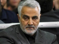 FILE - In this March 27, 2015 file photo released by an official website of the office of the Iranian supreme leader, commander of Iran's Quds Force, Qassem Soleimani, sits in a religious ceremony at a mosque in the residence of Supreme Leader Ayatollah Ali Khamenei in Tehran, Iran. A …