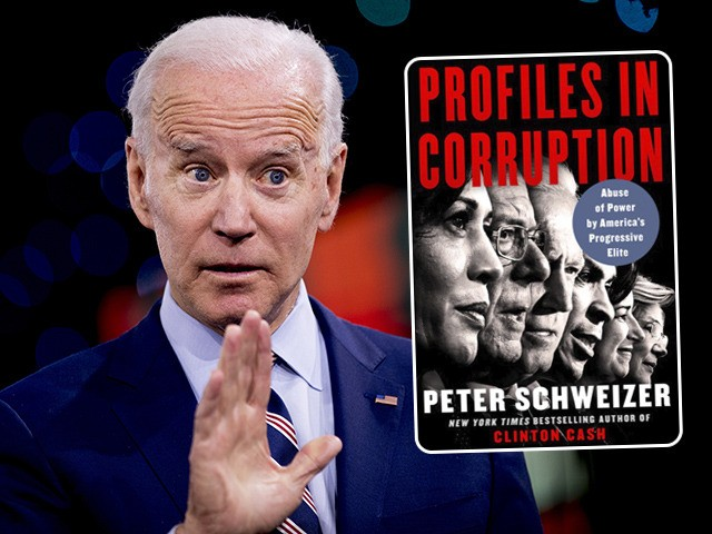 (INSET: Cover of Peter Schweizer's book 'Profiles in Corruption') Democratic presidential candidate former Vice President Joe Biden speaks at the Brown & Black Forum at the Iowa Events Center, Monday, Jan. 20, 2020, in Des Moines, Iowa. (AP Photo/Andrew Harnik)