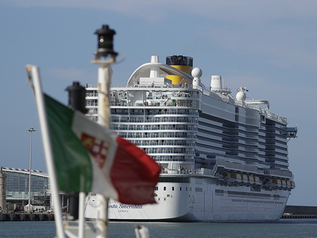 The Costa Smeralda cruise ship is docked in the Civitavecchia port near Rome, Thursday, Jan. 30, 2020. Italian health authorities are screening passengers aboard after a passenger from Macao came down with flu-like symptoms amid the global scare about a new virus. Passengers are being kept on board pending check …