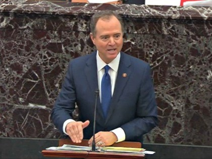 WASHINGTON, DC - JANUARY 29: In this screengrab taken from a Senate Television webcast, House impeachment manager Rep. Adam Schiff (D-CA) speaks during impeachment proceedings against U.S. President Donald Trump in the Senate at the U.S. Capitol on January 29, 2020 in Washington, DC. Senators have 16 hours to submit …