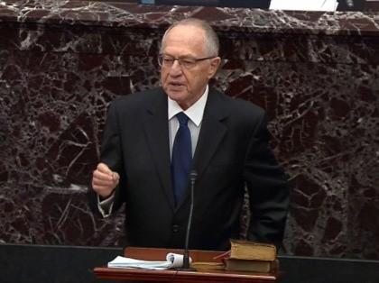 Alan Dershowitz impeachment trial (Senate TV / Getty)