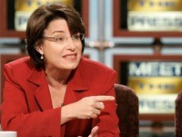 "WASHINGTON - OCTOBER 15: Democratic U.S. Senate candidate Amy Klobuchar and Republican U.S. Senate candidate Rep. Mark Kennedy (R-MN) participate in a debate on ""Meet the Press"" during a taping at the NBC studios October 15, 2006 in Washington, DC. Klobuchar and Kennedy are competing for the Senate seat vacant …"