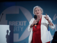 LONDON, ENGLAND - SEPTEMBER 27: Anne Widdecombe MEP addresses the audience during the final event of the Brexit Party Conference Tour at The Emmanuel Centre on September 27, 2019 in London, England. The rally is part of a nationwide conference tour in which Nigel Farage will address audiences around the …