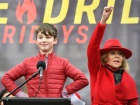 Child actor Iain Armitage speaks during a climate rally as actress Jane Fonda (R) watches on the grounds of the US Capitol in Washington, DC on on January 3, 2020. (Photo by MANDEL NGAN / AFP) (Photo by MANDEL NGAN/AFP via Getty Images)