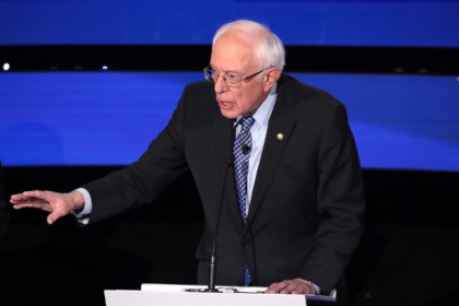 DES MOINES, IOWA - JANUARY 14: Sen. Bernie Sanders (I-VT) makes a point during the Democratic presidential primary debate at Drake University on January 14, 2020 in Des Moines, Iowa. Six candidates out of the field qualified for the first Democratic presidential primary debate of 2020, hosted by CNN and …