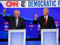 Democratic presidential candidate Sen. Bernie Sanders, I-Vt., left, and former Vice President Joe Biden participate in a Democratic presidential primary debate hosted by CNN/New York Times at Otterbein University, Tuesday, Oct. 15, 2019, in Westerville, Ohio. (AP Photo/John Minchillo)