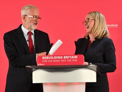 SALFORD, ENGLAND - SEPTEMBER 02: Labour leader Jeremy Corbyn and shadow Business secretary Rebecca Long-Bailey attend a rally ahead of a shadow cabinet meeting on September 02, 2019 in Salford, England. The Labour leader is making a major speech about the battle to stop a No Deal Brexit. The weekend …