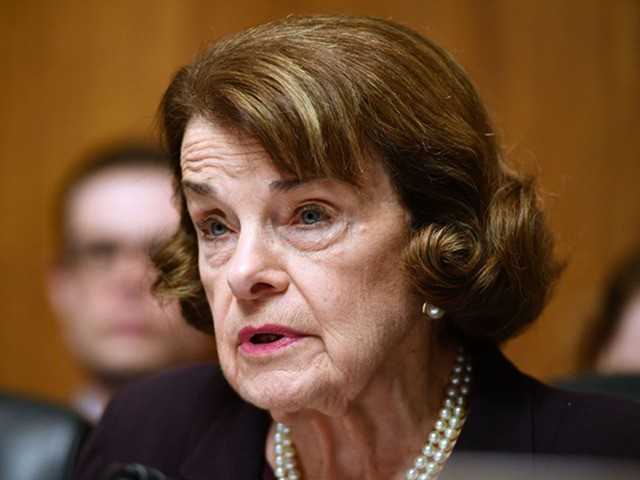 """US Senator Dianne Feinstein speaks as US Attorney General William Barr prepares to testify before the Senate Judiciary Committee on """"The Justice Department's Investigation of Russian Interference with the 2016 Presidential Election"""" on Capitol Hill in Washington, DC, on May 1,2019. (Photo by MANDEL NGAN / AFP) (Photo credit should …"""