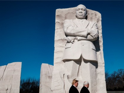 President Donald Trump and Vice President Mike Pence visit the Martin Luther King Jr. Memorial on January 21, 2019 in Washington, DC. They placed a wreath to commemorate the slain civil rights leader. (Photo by Pete Marovich/Getty Images)