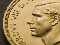 In this undated photo made available by The Royal Mint, a view of a rare Edward VIII Sovereign coin. One of the world's most rare coins featuring the uncle of Britain's Queen Elizabeth II, has been purchased for 1 million pounds ($1.3 million) in a new record for the sale …