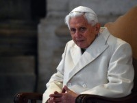 """Pope Emeritus Benedict XVI arrives at St Peter's basilica before the opening of the """"Holy Door"""" by Pope Francis to mark the start of the Jubilee Year of Mercy, on December 8, 2015 in Vatican. Pope Francis marks the start of an extraordinary Jubilee year for the world's 1.2 billion …"""