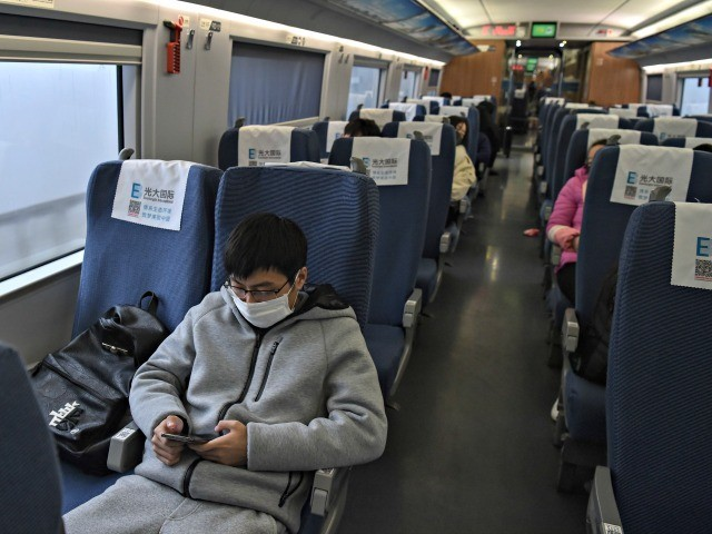 """A young man wearing a protective facemask sits on a train usually full with passengers ahead of the Lunar New Year as he travels from the Chinese city of Shanghai to his hometown of Wuhan on January 23, 2020, described as the """"main battlefield"""" for a SARS-like disease has killed …"""