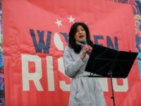 Evelyn Yang, wife of Democratic presidential candidate Andrew Yang speaks during a rally before the Women's March, on Saturday, Jan. 18, 2020 in New York. Hundred showed up in New York City and thousands in Washington, D.C. for the rallies, which aim to harness the political power of women, although …