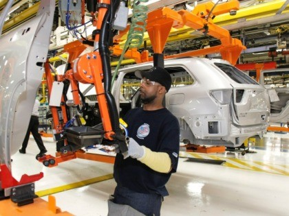 DETROIT - MAY 21: A Chrysler employee works on the assembly line making the new Jeep Grand Cherokee at the Chrysler Jefferson Avenue Plant May 21, 2010 in Detroit, Michigan. The 2011 Jeep Grand Cherokee is Chrysler's first new vehicle to be introduced since they emerged from bankruptcy. (Photo by …