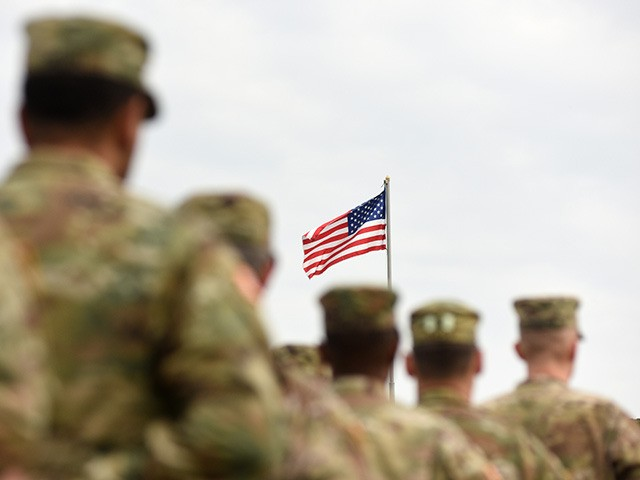 American Soldiers and US Flag. US troops