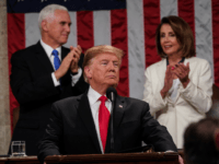 U.S. President Donald Trump, with Speaker Nancy Pelosi and Vice President Mike Pence looking on, delivers the State of the Union address in the chamber of the U.S. House of Representatives at the U.S. Capitol Building on February 5, 2019 in Washington, DC. President Trump's second State of the Union …