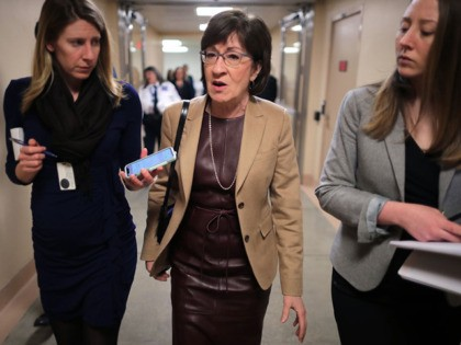 WASHINGTON, DC - MARCH 05: Sen. Susan Collins (R-ME) talks to reporters as she heads to the U.S. Capitol for the weekly Republican policy luncheon March 05, 2019 in Washington, DC. With the support of at least four Republicans, including Collins, the Senate seems poised to approve a resolution of …