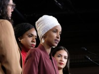 WASHINGTON, DC - JULY 15: U.S. Rep. Ilhan Omar (D-MN) speaks as Rep. Rashida Tlaib (D-MI), Rep. Ayanna Pressley (D-MA), and Rep. Alexandria Ocasio-Cortez (D-NY) listen during a press conference at the U.S. Capitol on July 15, 2019 in Washington, DC. President Donald Trump stepped up his attacks on four …