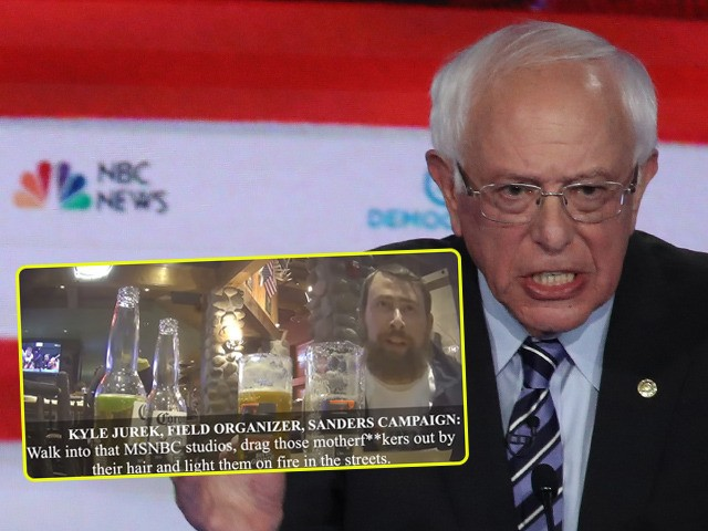 (INSET: Project Veritas screenshot of Sanders field organizer Kyle Jurek) MIAMI, FLORIDA - JUNE 27: Democratic presidential candidates former Vice President Joe Biden and Sen. Bernie Sanders (I-VT) speak during the second night of the first Democratic presidential debate on June 27, 2019 in Miami, Florida. A field of 20 …