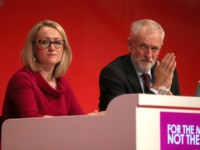 BRIGHTON, ENGLAND - SEPTEMBER 24: Shadow Secretary of State for Business, Energy & Industrial Strategy Rebecca Long-Bailey and Labour leader Jeremy Corbyn on the fourth day of the Labour Party conference on September 24, 2019 in Brighton, England. Yesterday delegates voted to endorse the leadership's preferred position of neutrality on …