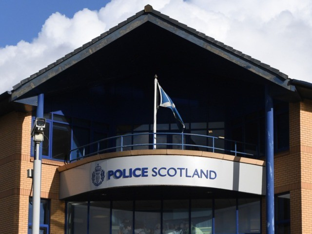 A general view shows the front of Govan Police Station on Helen Street in Glasgow on October 12, 2019. - A French man arrested in Scotland is not the murder suspect wanted for killing his wife and four children eight years ago, a source close to the investigation said October …