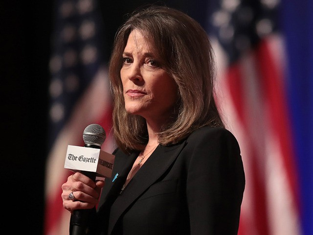 CEDAR RAPIDS, IOWA - SEPTEMBER 20: Democratic presidential candidate and self-help author Marianne Williamson speaks at a LGBTQ presidential forum at Coe College's Sinclair Auditorium on September 20, 2019 in Cedar Rapids, Iowa. The event is the first public event of the 2020 election cycle to focus entirely on LGBTQ …