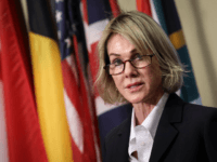 U.S. Ambassador to the United Nations Kelly Knight Craft delivers a brief statement to the press after a closed Security Council meeting about the situation in Syria, at the United Nations headquarters on October 16, 2019 in New York City. Craft called for Turkey to declare a ceasefire immediately and …
