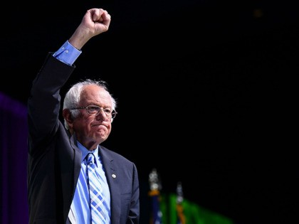Democratic presidential candidate Senator Bernie Sanders gestures after speaking during the 2019 J Street National Conference at the Walter E. Washington Convention Center in Washington, DC on October 28, 2019. (Photo by MANDEL NGAN / AFP) (Photo by MANDEL NGAN/AFP via Getty Images)