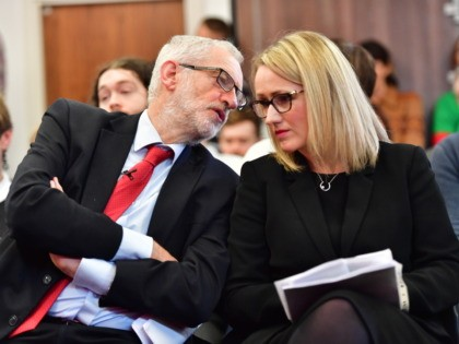 LANCASTER, ENGLAND - NOVEMBER 15: Labour leader Jeremy Corbyn and Shadow Secretary of State for BEIS Rebecca Long-Bailey wait to address the audience at the University of Lancaster on November 15, 2019 in Lancaster, England. The Labour leader has announced a major new digital infrastructure policy including free broadband for …