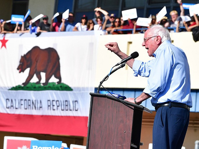 Democratic presidential hopeful, Vermont Senator, Bernie Sanders speaks to supporters during a campaign rally in Los Angeles, California on November 16, 2019. (Photo by Frederic J. BROWN / AFP) (Photo by FREDERIC J. BROWN/AFP via Getty Images)