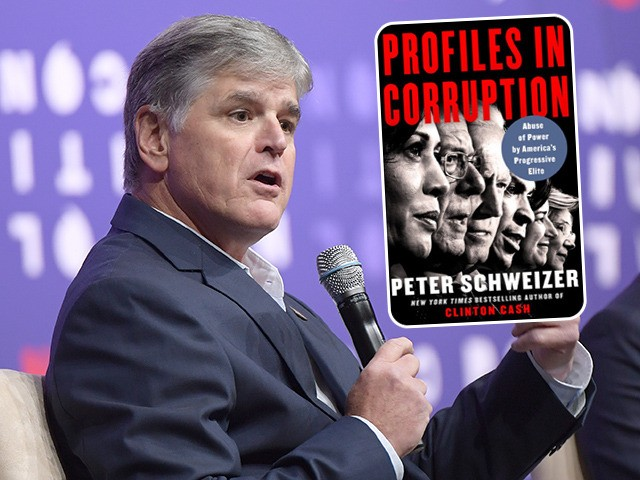 (INSET: Cover of 'Profiles in Corruption' book) NASHVILLE, TENNESSEE - OCTOBER 26: Sean Hannity (L) and Steven Olikara speak onstage during the 2019 Politicon at Music City Center on October 26, 2019 in Nashville, Tennessee. (Photo by Jason Kempin/Getty Images for Politicon )