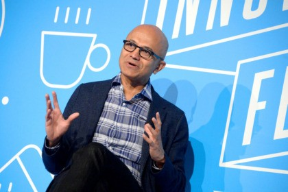 """NEW YORK, NEW YORK - NOVEMBER 07: Satya Nadela speaks on stage at the """"A Conversation with Microsoft's Satya Nadella"""" panel at the on November 07, 2019 in New York City. (Photo by Brad Barket/Getty Images for Fast Company)"""