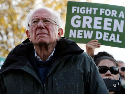 WASHINGTON, DC - NOVEMBER 14: Democratic presidential candidate Sen. Bernie Sanders (I-VT) attends a news conference to introduce legislation to transform public housing as part of the Green New Deal outside the U.S. Capitol November 14, 2019 in Washington, DC. The liberal legislators invited affordable housing advocates and climate change …