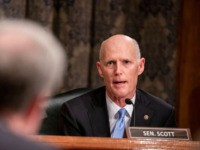 WASHINGTON, DC - DECEMBER 18: Sen. Rick Scott (R-FL) questions Department of Justice Inspector General Michael Horowitz during a Senate Committee On Homeland Security And Governmental Affairs hearing at the US Capitol on December 18, 2019 in Washington, DC. Last week the Inspector General released a report on the origins …