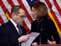 US Speaker of the House Nancy Pelosi (R) and House Judiciary Chairman Jerry Nadler walk aways after holding a press conference after the House passed Resolution 755, Articles of Impeachment Against President Donald J. Trump, at the US Capitol in Washington, DC, on December 18, 2019. - The US House …