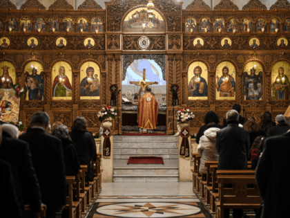 Worshippers attend Christmas Morning mass at the Prophet Elias Greek Orthodox Church in Syria's northern city of Aleppo on December 25, 2019. (Photo by - / AFP) (Photo by -/AFP via Getty Images)