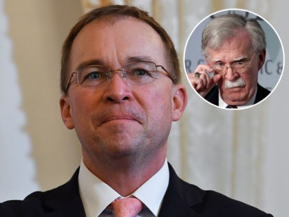 (INSET: John Bolton) Acting White House Chief of Staff Mick Mulvaney look on during a briefing on the past 72 hours events in Mar a Lago, Palm Beach, Florida on December 29, 2019. - Pompeo says they came to brief POTUS on events of past 72 hours Pompeo: We will …